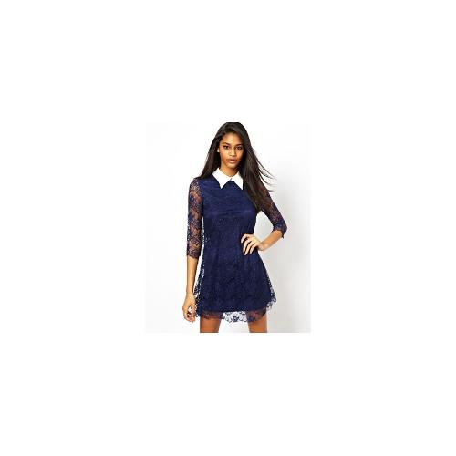 TFNC Lace Shift Dress With Contrast Collar - Navy