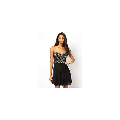 TFNC Prom Dress With Lace Bodice - Black/nude