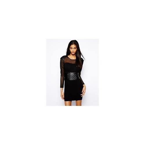 Selfish by Forever Unique Bodycon Dress with Sheer Panels - Black