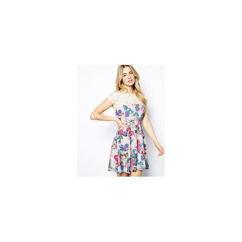 Lydia Bright Lace Top Skater Dress In All Over Floral - Cream floral