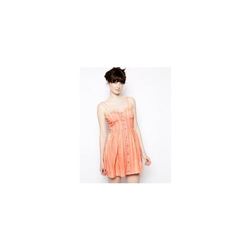 Nishe Stripe Buttoned Dress With Bust Strap Detail - Nude/pink