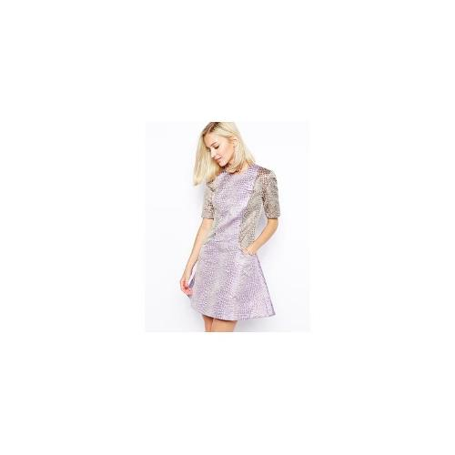 House Of Holland Fleur Dress in Mixed Croc Jacquard - Mix crocodile print