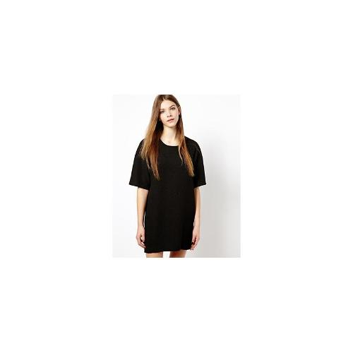 Monki Quilted Cocoon Dress - Black