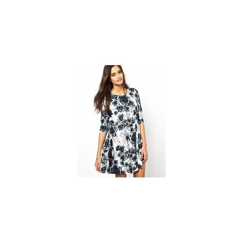 Glamorous Swing Dress in Monochrome Floral - Multi