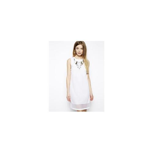 ASOS Shift Dress With Embellished Necklace - White