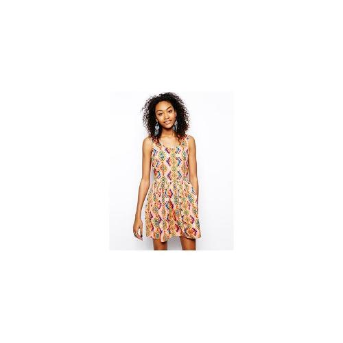 Band of Gypsies Smock Dress in Bright Aztec Print - Pink multi