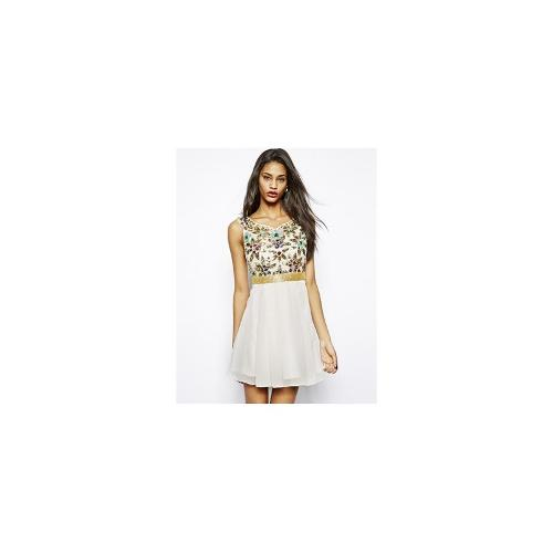 Virgos Lounge Vision Skater Dress with Floral Embellishment - Cream multi