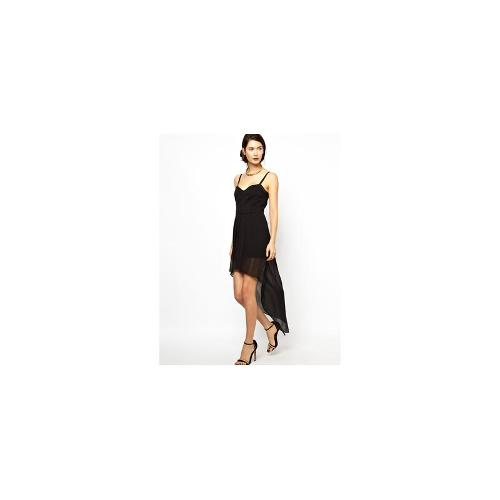BCBGMAXAZRIA Bustier Dress with High and Low Hem