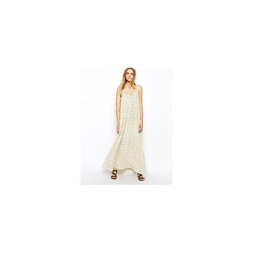 BA&SH Maxi Dress with Embroidered Pattern - Cream