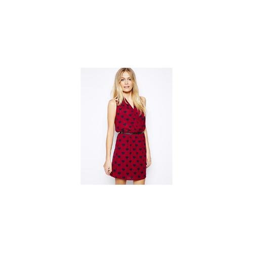 Oasis Heart Print Cowl Dress - Red