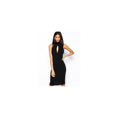 TFNC Bodycon Dress With High Neck And Mesh Inserts - Black