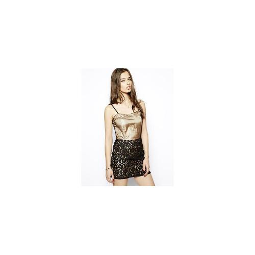 Glamorous Pencil Dress with Lace Skirt - Black