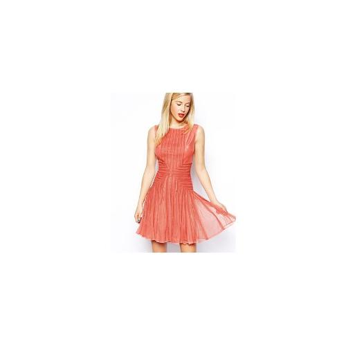 ASOS SALON Skater Dress In Layered Lace - Coral