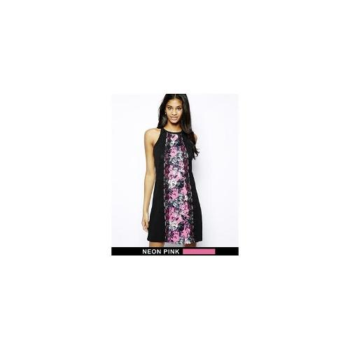 Paper Dolls Shift Dress with Floral Print Panel - Multi