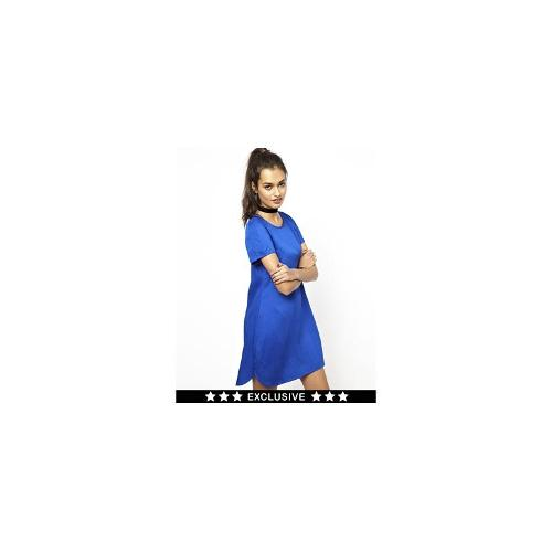 Motel Suki T Shirt Dress With Dolphin Hem - Sapphire blue
