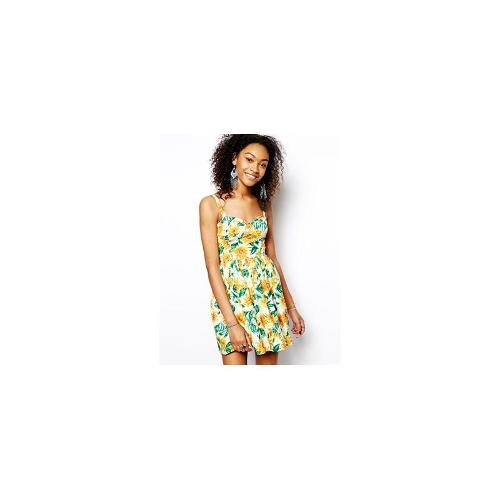 Band of Gypsies Cupped Cami Dress in Sunflower Print - Yellow multi