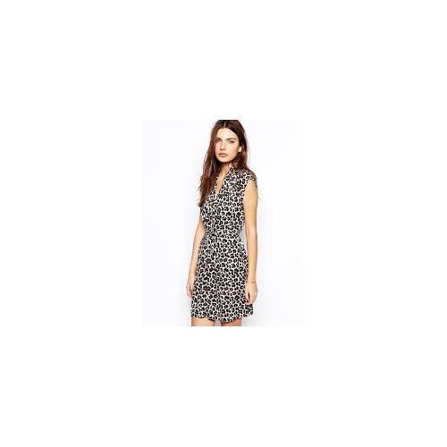 French Connection Tie Waist Dress in Powder Animal Print