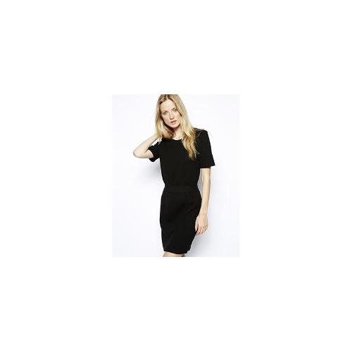 Selected Nallo Dress in Quilted Fabric - Black