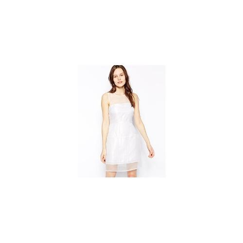 Aryn K Dress with Sheer Overlay - Silver