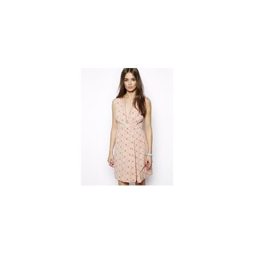 Max C Wrap Front Dress in Bow Print - Cream