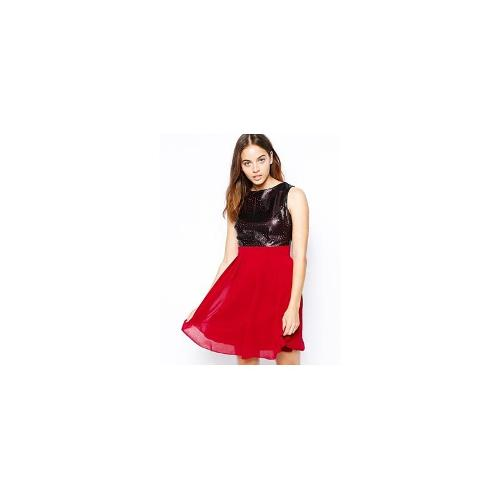 Little Mistress Fit and Flare Dress with PU Laser Cut Detail - Black/berry