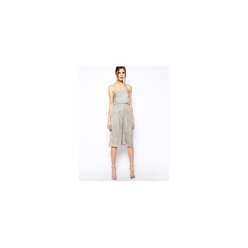 Warehouse Metallic Midi Dress