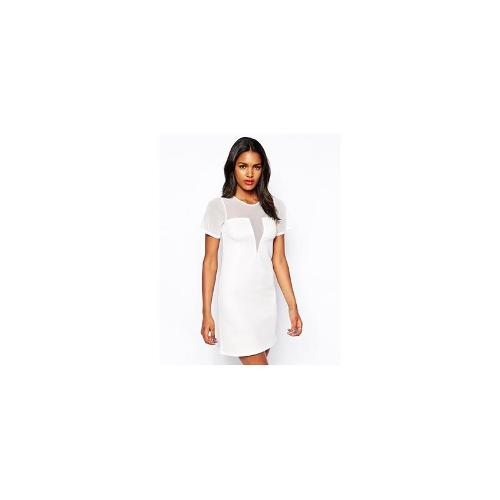 Oh My Love Shift Dress With V Neck - Cream
