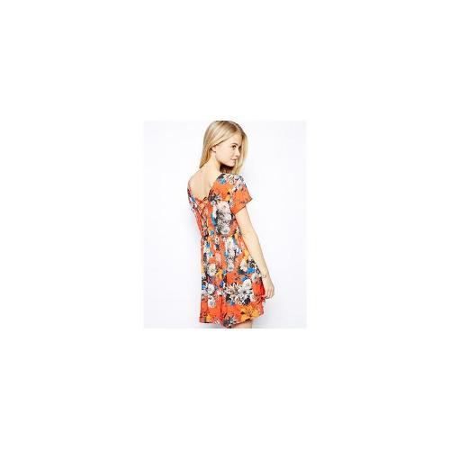 Pepe Jeans Floral Dress With Lace Back Detail - Multi
