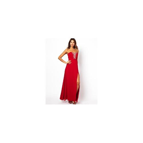 Lipsy VIP Bandeau Maxi Dress with Embellished Bust