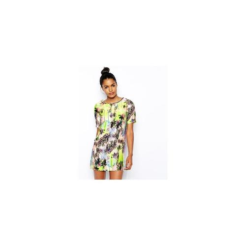 Oh My Love T-Shirt Dress in Tropical Palm Print - Multi