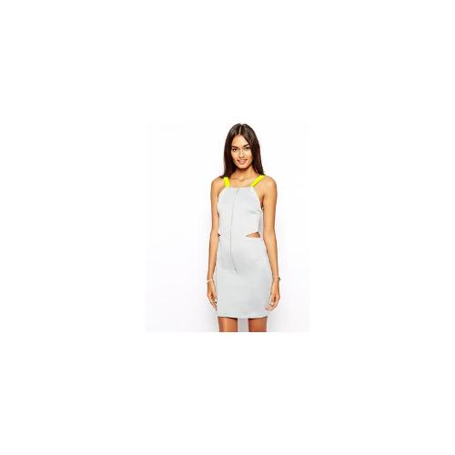 The Laden Showroom X Renee London Cut Out Contrast Strap Dress - Grey