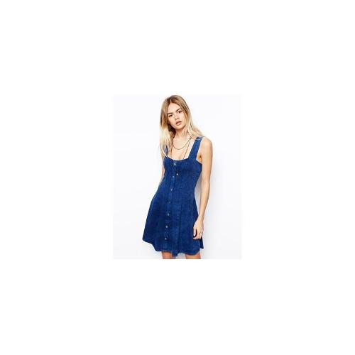 ASOS Skater Dress In Washed Denim With Button Through - Blue