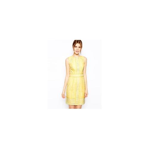 Warehouse Panelled Broderie Lace Pencil Dress - Lemon
