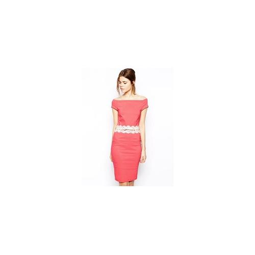 Paper Dolls Belted Off Shoulder Pencil Dress with Lace Waist Detail - Watermelon