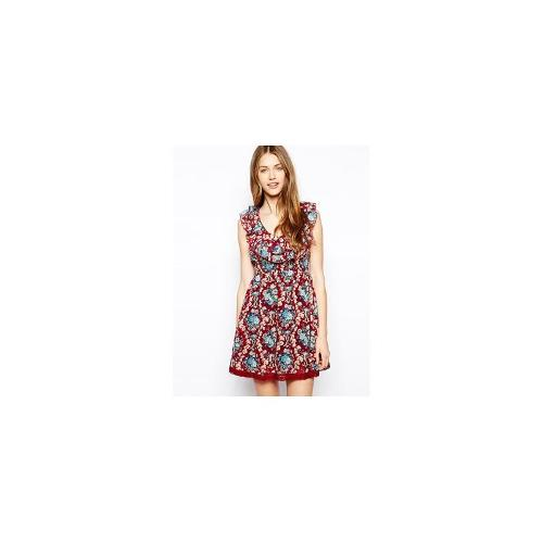 Mela Loves London Floral Frill Front Dress - Burgundy