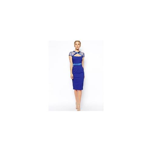 Tempest GiGi Dress With Mesh Cut Out Neckline - Cobalt blue