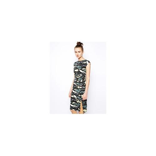 French Connection Printed Jersey Dress with Front Split