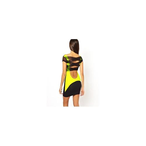 Quontum High Viz Dress with Mesh Strappy Back - Black/ neon yellow