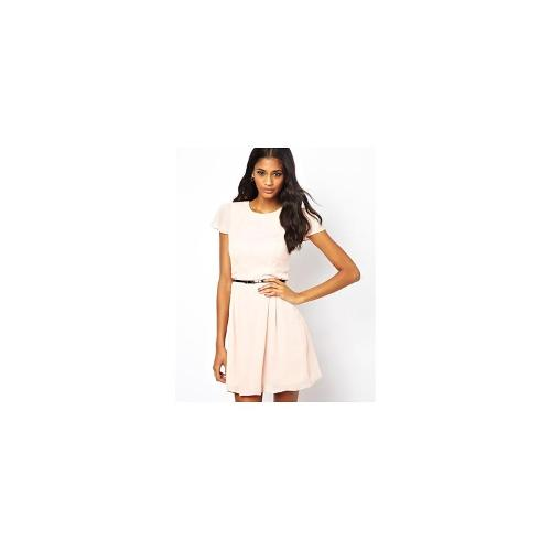 ASOS Skater Dress With Short Sleeves And Belt - Peach