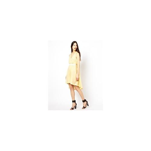 See By Chloe Deep V Cotton Voile Sack Dress with Belt