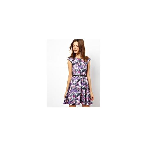 A Wear Printed Skater Dress With Belt