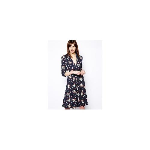 French Connection Print V Neck Dress with 3/4 Length Sleeves