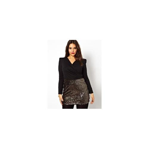 Club L Plus Size Wrap Dress with Sequin Skirt