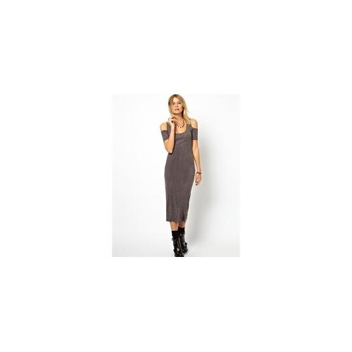 ASOS Bodycon Dress In Nepi With Short Sleeves and Cold Shoulder