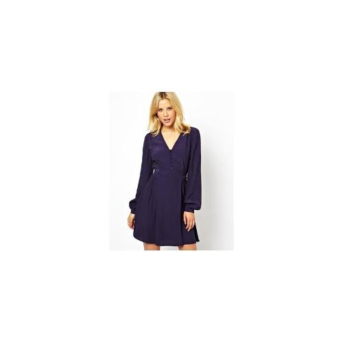 ASOS Skater Dress With Covered Buttons And Tie Waist - Navy