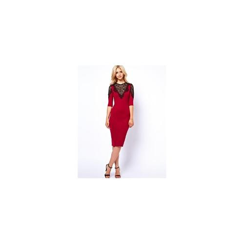 Lydia Bright Pencil Dress With Lace Shoulder and Neck