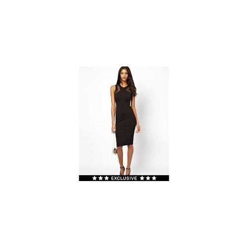 TFNC Bodycon Dress with Mesh Inserts