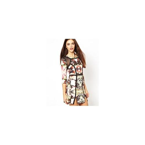 Ginger Fizz Bodycon Panelled Dress in Crystal Vision Print