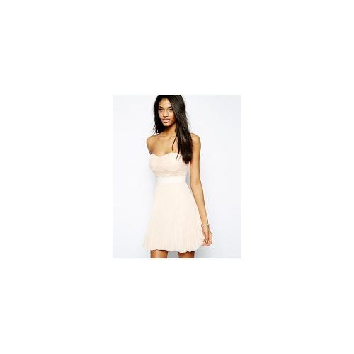 Elise Ryan Bandeau Skater Dress with Lace Top