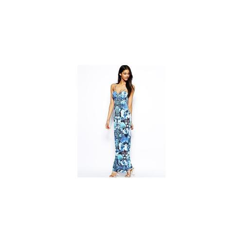 Lipsy Strappy Maxi Dress in Tropical Print